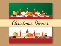 Christmas dinner banner. Set of vector illustrations of Christmas food on the table in flat style. Christmas cuisine or dishes. Perfect for New Year and Stock Photos