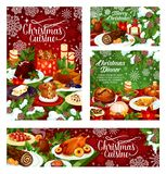 Christmas dinner banner of table with Xmas food. Christmas dinner banner of festive table with Xmas food. Baked turkey and fish, cookie, fruit pudding and cake royalty free illustration