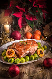 Christmas dinner with brussels sprouts in orange sauce. A Christmas dinner with brussels sprouts in orange sauce Stock Photography