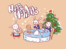 Christmas dinner cake bunnies family card doodle style vector illustration