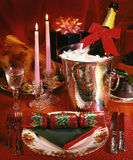 Christmas Dinner - Champagne Celebration. Festive place setting at a Christmas Celebration Dinner stock image