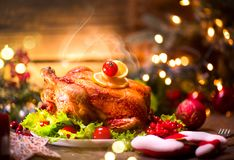 Christmas dinner. Decorated holiday table Stock Photography