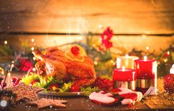 Christmas dinner. Decorated holiday table Stock Photo