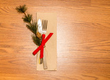 Christmas dinner fancy royal dinning. Christmas royal dinning with wooden table and pine tree Stock Photo