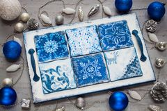 Christmas dinner festive decorative handmade vintage white and blue tray salver stock image