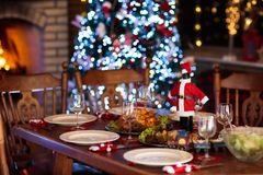 Christmas dinner at fire place and Xmas tree. Christmas dinner at fireplace and decorated Xmas tree. Dish with roasted turkey, salad and baked potato served for Stock Photography