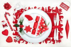 Christmas Dinner Fun Table Setting Royalty Free Stock Photography