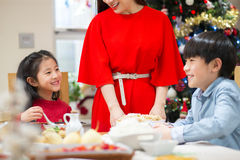 Christmas Dinner Giggles royalty free stock photo