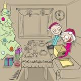 Christmas dinner. Girl unpacks gift.  Couple in love at home. Christmas dinner. Girl unpacks gift. Couple in love at home. Romantic evening. Cartoon illustration Stock Images