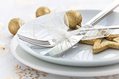 Christmas dinner. With golden decoration Stock Image