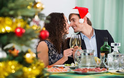 Christmas dinner at home cheerful family. Christmas dinner at home cheerful glad  family Royalty Free Stock Photo