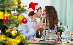 Christmas dinner at home cheerful  family. Christmas dinner at home cheerful young family Royalty Free Stock Images