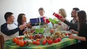 Christmas dinner at home young family. Young family celebrating the New Year together at home stock footage