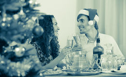 Christmas dinner at home young  family. Christmas dinner at home young happy family Royalty Free Stock Images