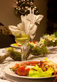 Christmas dinner with lobster Royalty Free Stock Images