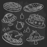 Christmas dinner menu, chalk drawing doodle style, blackboard background. royalty free illustration