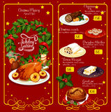 Christmas dinner menu festive template design. Christmas dinner restaurant menu. Xmas turkey, wine, chocolate cake, greek sweet bread, pie, fruit stollen and Stock Photos
