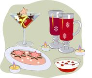 Christmas dinner in a narrow circle. Christmas dessert and wine in a festive evening Royalty Free Stock Photography