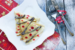 Christmas dinner party ideas pancake Christmas tree Royalty Free Stock Photo