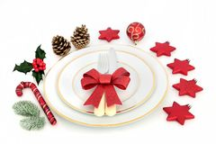 Christmas Dinner Place Setting Royalty Free Stock Photos