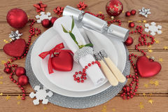 Christmas Dinner Place Setting Royalty Free Stock Photo