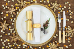 Christmas Dinner Place Setting Stock Photos