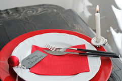 Christmas Dinner Plate with Candle Royalty Free Stock Photos
