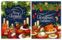 Christmas dinner poster of festive dishes on table. Christmas dinner poster with festive dishes. Baked turkey, Xmas pudding and fish, fruit cake, gingerbread Royalty Free Stock Photos