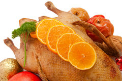 Christmas dinner.Roast duck Royalty Free Stock Image