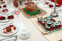 Christmas dinner set Stock Image