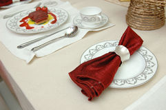 Christmas dinner set Stock Photography