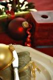 Christmas dinner setting stock photography