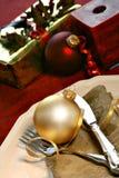 Christmas dinner setting stock images