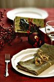 Christmas dinner setting Stock Photo