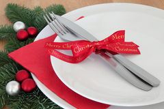Christmas Dinner Setting Stock Image