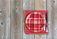 Christmas dinner setting and cloth napkin for the festive holida Royalty Free Stock Photos