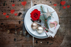 Christmas dinner in shabby chic style with Hearts Royalty Free Stock Images