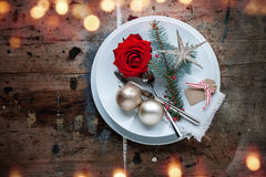 Christmas dinner in shabby chic style Royalty Free Stock Image