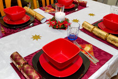 Christmas dinner table. With empty plates Stock Photos