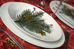 Christmas dinner table Royalty Free Stock Image