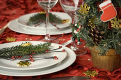 Christmas dinner table Royalty Free Stock Photos
