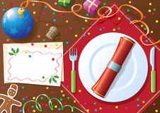 Christmas dinner table royalty free illustration