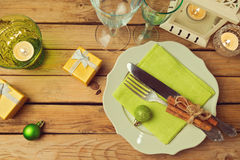 Free Christmas Dinner Table Arrangement. View From Above. Stock Photo - 47946270