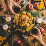 Christmas dinner table with chicken stock photo