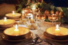 Christmas dinner table with christmas mood Royalty Free Stock Photo