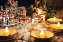 Christmas dinner table with christmas mood stock image