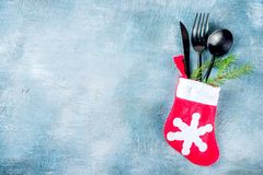 Christmas dinner table place royalty free stock image