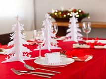 Christmas dinner table setting Stock Photo