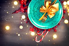 Christmas dinner table setting. Abstract holiday background Royalty Free Stock Photography