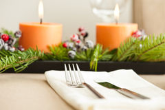 Christmas Dinner table setting Royalty Free Stock Photography